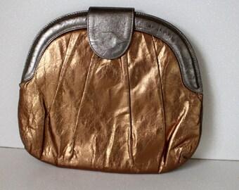 Vintage BRONZE METALLIC Clutch