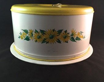 SALE - Vintage Covered Cake Plate - Shabby Chic - Yellow