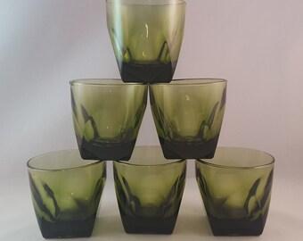 SALE - Green Beveled Vintage Low Ball Glasses - Set of 6