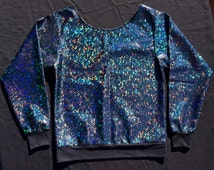 "Holographic ""Starry Shadow"" Sparkle Glitter Rave Summer Festival Iridescent Hologram Top"