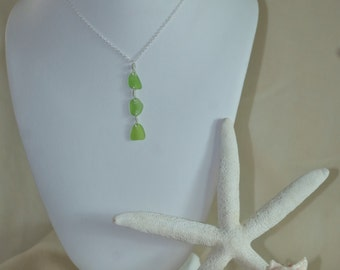Genuine 3 stone Lime colored Sea glass Pendant