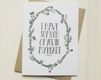 Keats Quote - love card, valentine card, valentines day, anniversary card, card for boyfriend, card for husband, card for partner, quote
