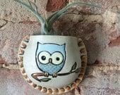 Wall Pocket, Vase, Ceramic Planter,  Owl, Woodland, Handmade, Clay, OOAK, Garden Art, Air Plant, Plant Pocket, Stoneware