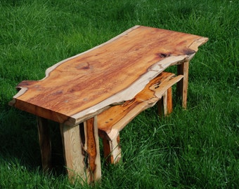 A beautiful natural yew nest of tables