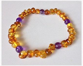 Ladies Amber & Amethyst Bracelet