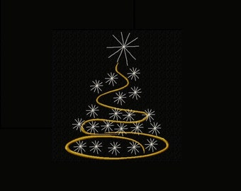 Twinkling Christmas Tree Machine Embroidery Design Single