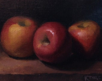 Wuthering Heights Fuji Apples 5x7 Oil Painting