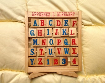 French alphabet in wood
