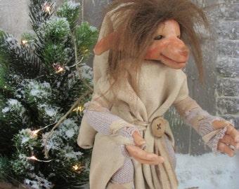 Smokey posable OOAK art doll - troll - Pixie
