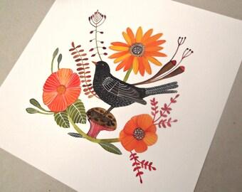 Blackbird Botanic Garden - giclee watercolor print , bird print , garden print , giclee art print 8 x 8 inch