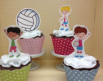 Volleyball Party Cupcake Topper Decorations - Set of 10