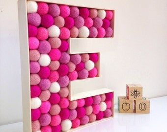 Nursery letter E. Felt Ball Letter, Kids room decor, Nursery decor, Pink decor, Baby shower decor, Wall decor, Baby room
