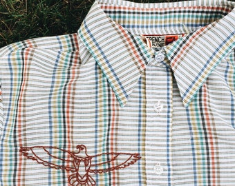 Vintage Striped Blouse Hand Embroidered - Size M