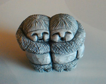 Glacial Ice Age Sculpture Two Eskimo Children by ACE