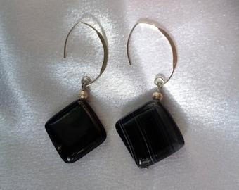 Edgy Geometric Black Agate Dangles- Black Gemstones- Black Earrings- Avant Garde Earrings- Contemporary Geometric Dangles- Edgy Dangles