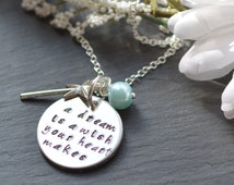 A Dream Is A Wish, Cinderella Quote Necklace, Ladies Jewellery, Girls Jewelery, Disney Gift, Handstamped Princess Jewelry
