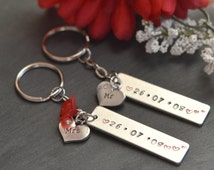 Couples Keyring Set, Mr and Mrs, Mr and Mr, Mrs and Mrs, Wedding keychain Gift, Gay Marriage Gift, His and Hers Keyfob, Personalized Date