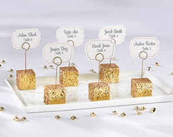 Gold Glitter Wedding Place card Holders and Placecards (Set of 6)