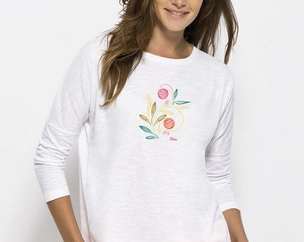 T-shirt trend relaxed fit, drooping shoulder Organic Cotton Slub White