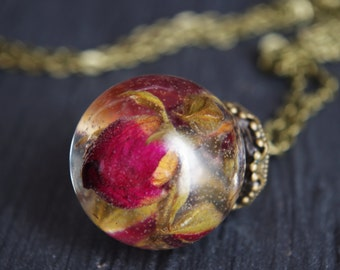 Real Flower Necklace Rose Necklace Flower Jewelry Romantic Necklace  Resin Sphere Pendants Pressed Flower Resin Jewelry Real Rose Necklace