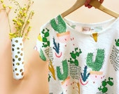 Screen Printed Ladies Cactus Colouful Pot Plant Garden Sleeve Linen Top
