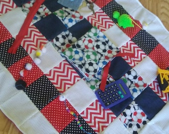 Activity Blanket,Fidget Quilt, Restless Fingers,Sensory Blanket, Dementia Therapy,Alzheimers Therapy,Autism, Stroke Therapy,Brain Trama