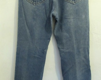 Marked Down@@Men's Vintage 70's,Faded Blue STRAIGHT Leg Jeans By LEE.34x31