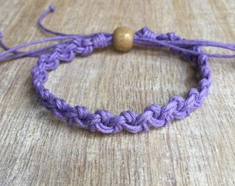 Purple Hemp Anklet, Braided Anklet, Macrame Anklet, Surfer Anklet, Macrame Bracelet, Beach Anklet, Hemp Bracelet  HA001356