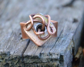 square ring, copper ring, hammered copper, statement ring, wire ring, stacking ring, copper jewelry