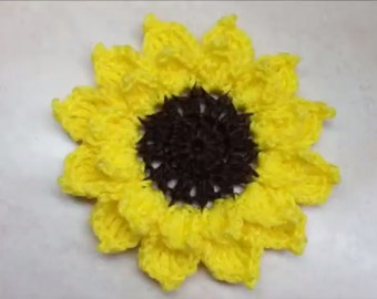 Easy Crochet Sunflower Pattern DIGITAL DOWNLOAD ONLY