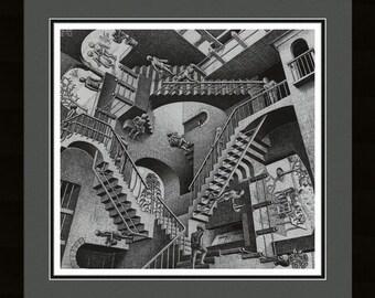 Relativity Abstract stairs Double Mat art Framed Print - M.C Escher 23.5x25.5