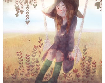 Girl sitting swing | In the field | Shadow Tree | Art Print Giclee | Illustration