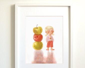 Apples | baby room | children room | children birthday | children wall decor | baby wall decor | children illustration | art print | poster