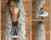ON SALE// Long & Curly Silver/Gray Lace Front Wig, Ombre Silver Wig, Dark Rooted Bombshell Wig // STORM (Free Shipping)