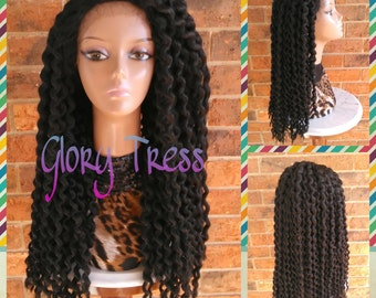 ON SALE// Long Twist Out Lace Front Wig, Natural Kinky Twist Wig, African American Wig // PROCLAIM (Free Shipping)