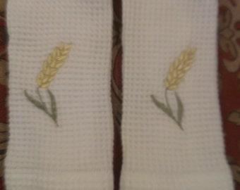 Carre blanc 100%  Cotton Waffle Weave Wheat Wash Cloths