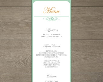 Printable Wedding Menu - Custom Digital Wedding Menu - Blue and Gold Wedding Menu - DIY Wedding Menu and Stationary - Everlasting Collection