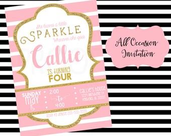 Sparkle Birthday Invitation; Printable; Digital File