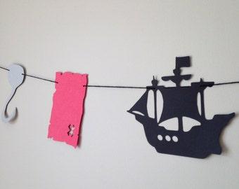 Pirate Birthday Party Banner - Garland - Ship - Crossbones - Hook - Treasure Map - Paper Bunting - Ahoy Matey