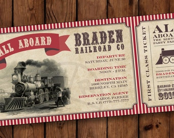 All Aboard Train Ticket (red striped), Train Ticket Birthday Party Invitation, All Aboard Birthday Party Invitation #004