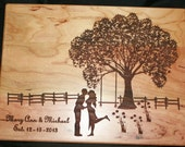Custom Cutting Board Personalized Wedding cutting board , Engraved Laser engraved Wedding Gift with Country Scene