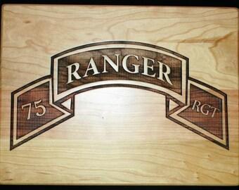 US Army Ranger Cutting Board - Personalized Cutting Board for a Army Ranger, Military Gift, Home Decor, Kitchen Decor, Housewarming Gift