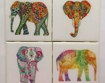Coasters- Handmade Colorful Elephant Ceramic Coaster Set of 4- Colorful Indian Elephants- Home Decor- Elephant Decor