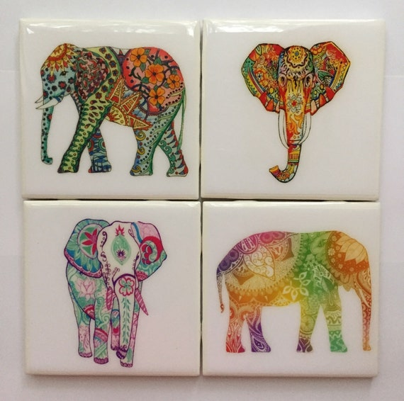 Coasters handmade colorful elephant ceramic coaster set of 4 Elephant home decor items