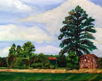 Tobacco Barns, Painting, 3 Tobacco Barns, North Carolina