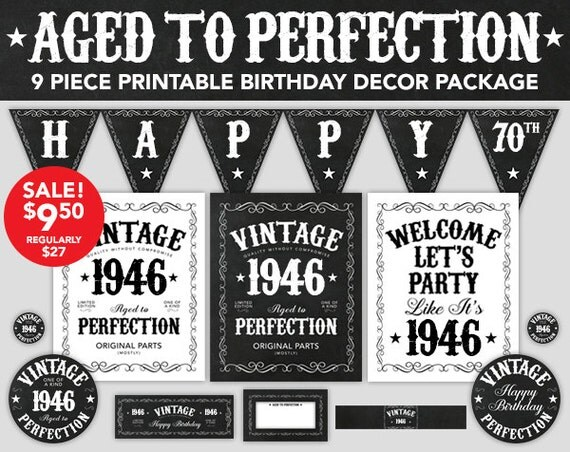 Aged To Perfection Birthday Decor 70th Birthday By