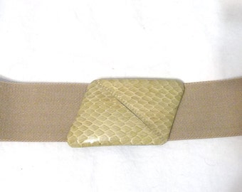 1980s Beige/Tan Elastic Stretch Belt with Snakeskin Closure