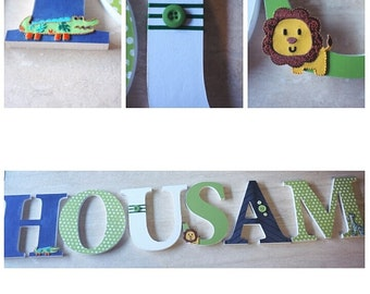 Custom Nursery Letters, Wood Nursery Letters, Wall Hanging Boy/Girl