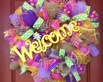 Summer wreath, summer wreath front door, welcome wreath, yellow wreath, burlap wreath, summer burlap wreath, summer decor