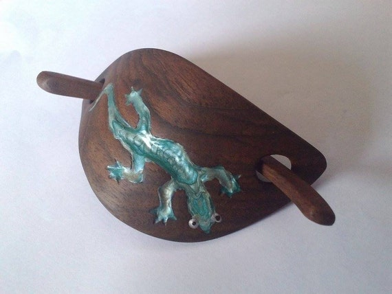 Hair clip wood carving slide shawl pin by
